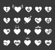 Rote Innere mit freundlichen Gesichtern und Lächeln Gesund und lieben Sie Herz, herzige Zeichen des Impulses lizenzfreie abbildung
