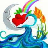 Rote Innere und Mond