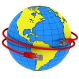 Rote Internet-Seilzugverpackungen um die Planet Erde Stockbilder