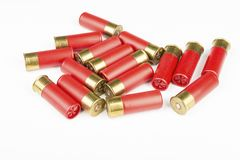 12 rote Jagdmunitionen des Messgeräts für Schrotflinte Lizenzfreies Stockfoto