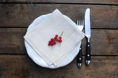 Rote Johannisbeeraperitif auf Gartentisch Stockbilder