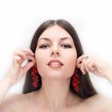 rote Johannisbeere als Ohrringe Stockfotografie