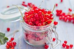 Rote Johannisbeerfruchtglasholztisch Lizenzfreies Stockfoto