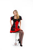 Rote Königin cosplay - recht junge Frau Lizenzfreie Stockfotografie
