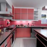 Rote Küche Stockbild