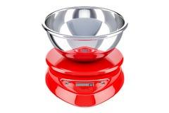 Rote Küchen-Skala Digital, 3D Lizenzfreie Stockfotografie