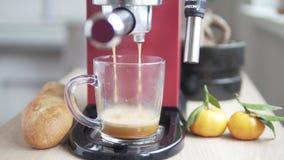 Rote Kaffeemaschine braut Kaffee in einer transparenten Glasschale stock footage