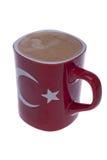 Rote Kaffeetasse mit der türkischen Flagge von Istanbul Lizenzfreies Stockfoto