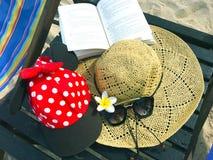 Rote Kappe mit weißen Tupfen, Strohhut, Blumen, Buch und gesungen stockfotografie