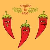 Rote Karikaturpaprikapfeffer in der Sonnenbrille und in Phrase 'stilvoll und heiß ' vektor abbildung