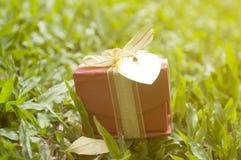 rote Kastengeschenke und für die Glückwünsche, die auf grünem Gras in SU liegen Stockbild