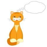 Rote Katze auf weißem Hintergrund Stockbild