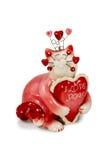 Rote Katze der Figürchens mit Aufschriften über Liebe Lizenzfreies Stockfoto