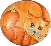 Rote Katze oben gekräuselt Alte Malerei auf Stein Lizenzfreie Stockfotografie