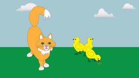 Rote Katze und kleines Huhn drei Lizenzfreie Stockbilder