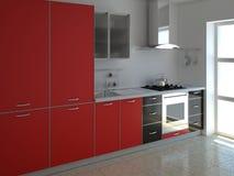 Rote Küche Lizenzfreies Stockfoto