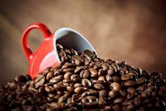 Rote keramische Kaffeetasse, die in den heißen Kaffeebohnen liegt Stockfotografie