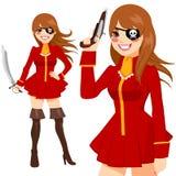 Rote Klagen-Piraten-Frau vektor abbildung
