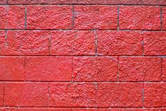 Rote klare raue Backsteinmauer stockfoto