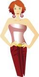 Rote Kleidabbildung der Frau Stockfotografie