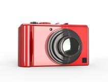 Rote kompakte digitale Fotokamera mit schwarzer Linse Lizenzfreie Stockfotografie