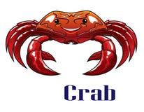 Rote Krabbe der Karikatur mit großen Greifern Stockfotos