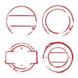 Rote Kreisrahmen und Schmutzstempel Stockfotos