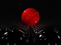 Rote Kugel, die heraus steht Stockfoto