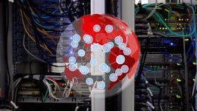 Rote Kugel, die mit Ikonen sich dreht vektor abbildung
