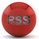 Rote Kugel mit RSS Stockfoto