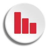 Rote Kurve im runden weißen Knopf mit Schatten lizenzfreie abbildung