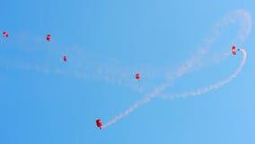 Rote Löwen, die während NDP 2012 fallschirmspringen Lizenzfreie Stockbilder