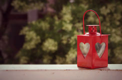Rote Lampe mit Herzen Lizenzfreie Stockfotos