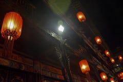 Rote Laterne beleuchtet Stockbild
