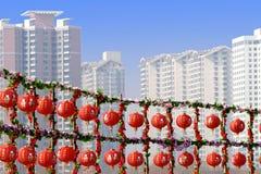 Rote Laternen im neuen Jahr. Stockbild