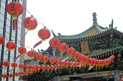 Rote Laternen in Yokohama Chinatown Stockbilder