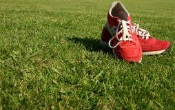 Rote laufende Schuhe auf einem Sportfeld Stockbild