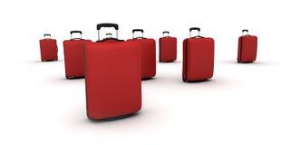 Rote Laufkatzekoffer Stockfoto