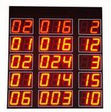 Rote LED-Zahlen des elektronischen Zahl-Brettes Stockbild