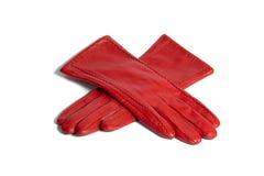 Rote lederne Handschuhe Stockfoto