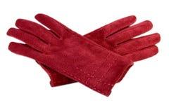 Rote lederne Handschuhe Stockfotos