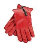 Rote lederne Handschuhe Stockbild