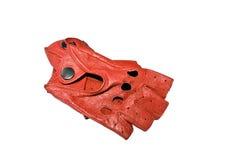 Rote lederne Handschuhe des Treibers Stockfotos