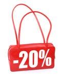 Rote lederne Handtasche mit Verkaufszeichen stockfotos