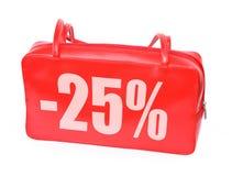 Rote lederne Verkaufs-Handtasche Stockfotografie
