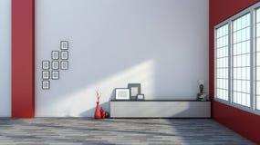Rote leere Ausstellungshalle mit leerem Rahmen, Vase und Lampe Lizenzfreie Stockfotos