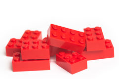 Rote Lego Blöcke stockbild
