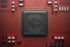 Rote Leiterplatte mit einem Prozessor, bitcoin Lizenzfreie Stockfotos