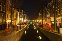 Rote Leuchte-Bezirk in Amsterdam Stockbilder