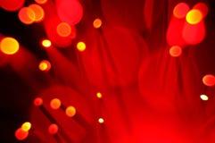 Rote Lichter Bokeh aus optischen Fasern Stockbild